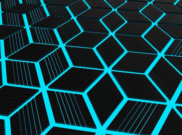 Перспективный вид современного голубого голубого гексагонального куба шаблон фона.
