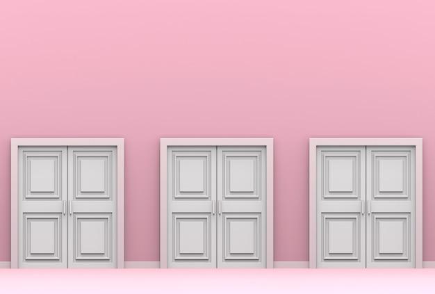 Три белые деревянные двери на фоне розового цементного фона