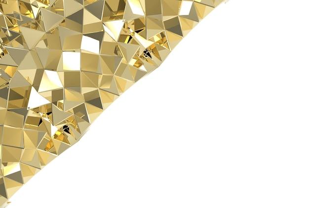 コピースペースの白い背景に豪華な金色の三角形のプレート。