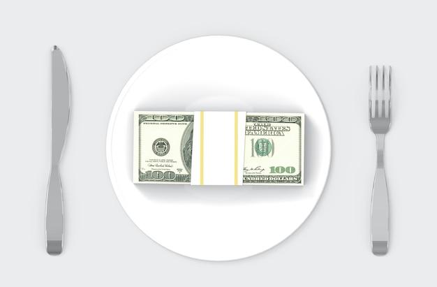 スプーン、民族と料理に米ドルのスタック。食べるお金や豊かな概念。