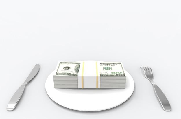 フォーク、スプーンと白い皿に米ドルのスタック。食べるお金や豊かな概念。