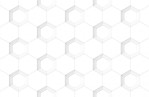シームレスな白い六角形のパターンの背景。