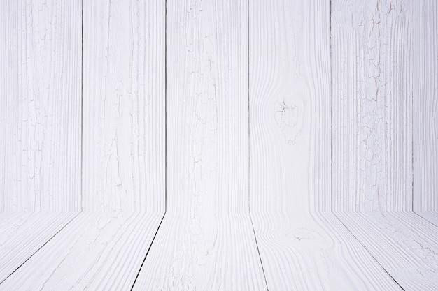 白い木製の背景の壁と床