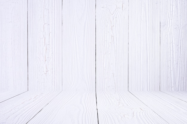 白い木製の壁と床。木製のテクスチャです。