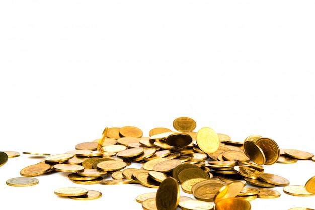 Движение падающей золотой монеты, летящей монеты