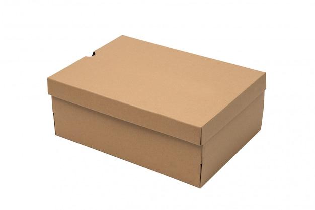 Коричневая картонная коробка для обуви с крышкой для макета упаковки обуви или кроссовок