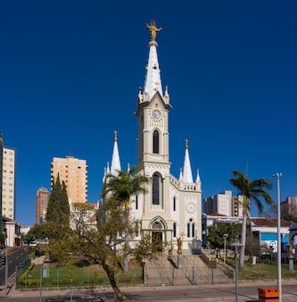 Город убераба, минас-жерайс, бразилия. аэрофотоснимок святого сердца иисуса