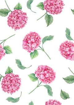 ピンクのアジサイの花の水彩イラストのシームレスパターン