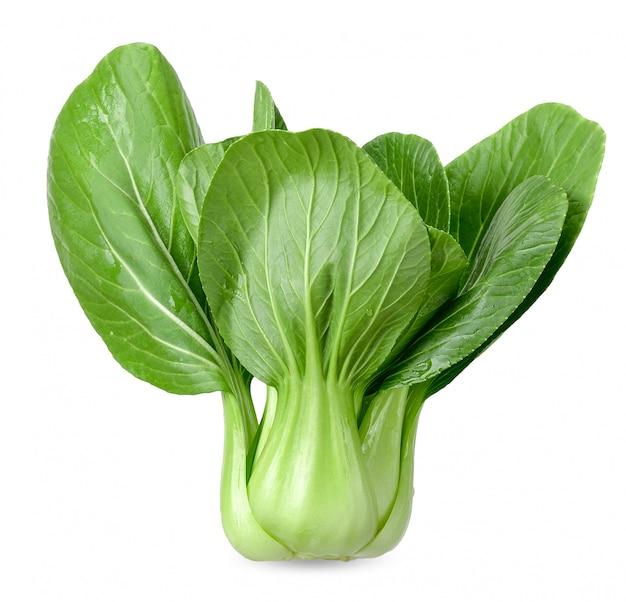 クリッピングパスを白で隔離される青梗菜