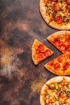 さまざまなピザのセット