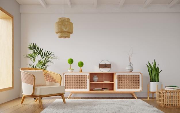 籐の家具で飾られた明るいリビングルーム