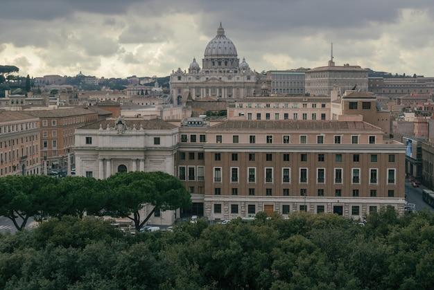 サンピエトロ大聖堂のドームの空撮
