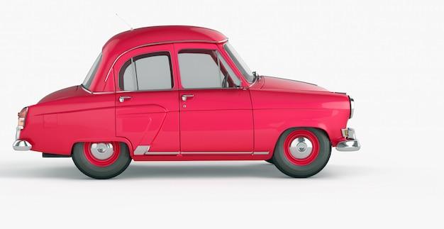 Красный винтажный игрушечный автомобиль вид сбоку
