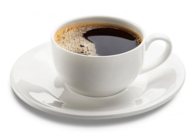 白で隔離されるホットコーヒーのカップ