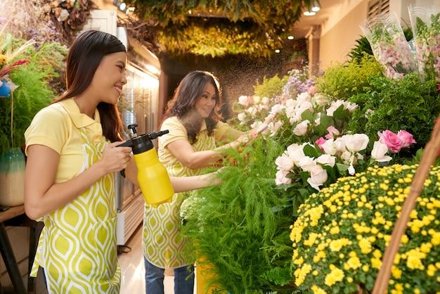 販売のための花の準備