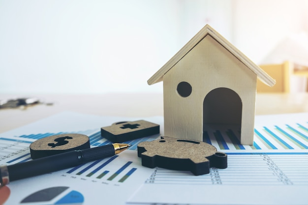 金融機関のストックスプレッドシート、家、豚、医療、金、ペン