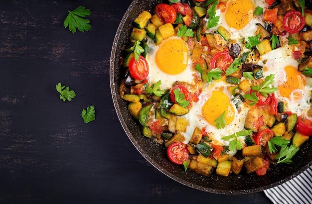 野菜と卵焼き