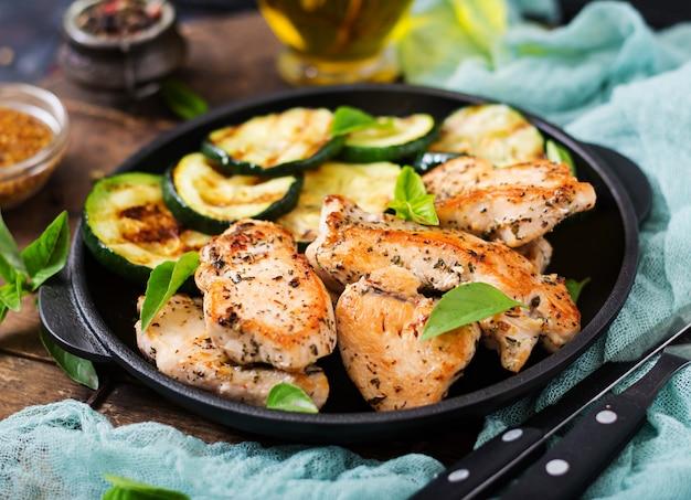 グリルで調理したズッキーニと鶏ムネ肉。