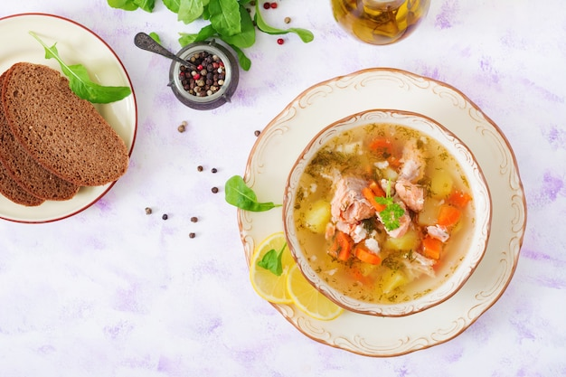 ボウルに野菜とサーモンスープ。上面図。平置き