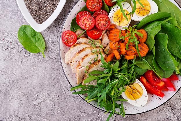Тарелка с кето диетическое питание. помидоры черри, куриная грудка, яйца, морковь, салат с рукколой и шпинатом. кето обед. вид сверху