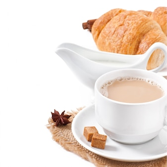 コーヒーとクロワッサンの朝食