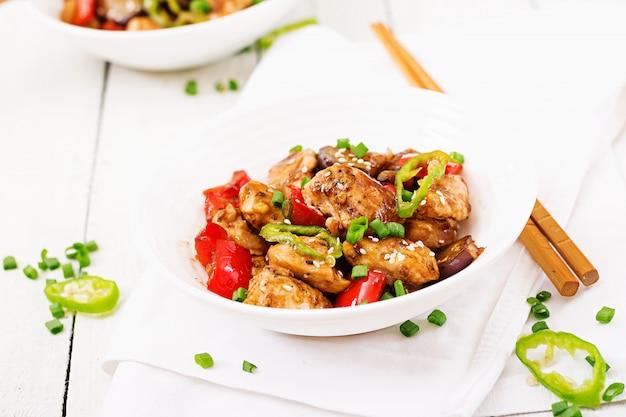 ピーマンと野菜の自家製クンパオチキン