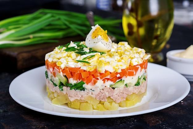 卵、きゅうり、じゃがいも、ねぎ、にんじんのタラレバーのサラダ。