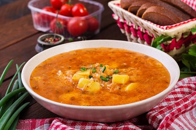 キャベツとロシアの伝統的なスープ-ザワークラウトスープ-シチー。