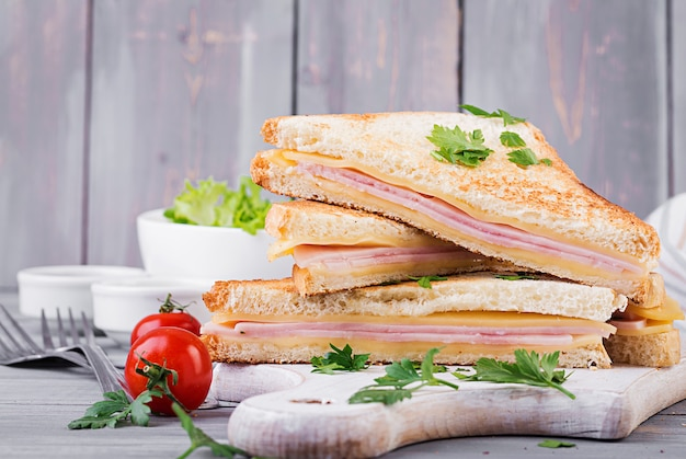 クラブサンドイッチパニーニ、ハム、チーズ、サラダ。おいしい朝食
