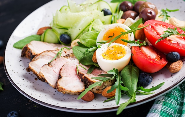 ケトジェニックダイエット。ケトブランチ。ゆで卵、ポークステーキ、オリーブ、キュウリ、ほうれん草、ブリーチーズ、ナッツ、トマト。