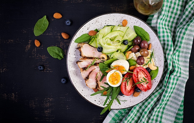 ケトジェニックダイエット。ケトブランチ。ゆで卵、ポークステーキ、オリーブ、キュウリ、ほうれん草、ブリーチーズ、ナッツ、トマト。上面図