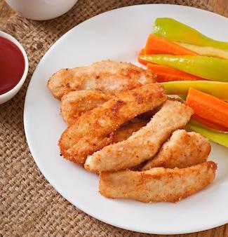 ソースと野菜のチキンナゲット