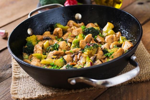 ブロッコリーとマッシュルームと鶏肉を炒める-中華料理