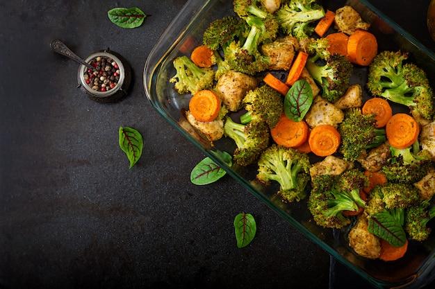焼き野菜と鶏ムネ肉のシチュー。健康食品。適切な栄養。平干し。上面図
