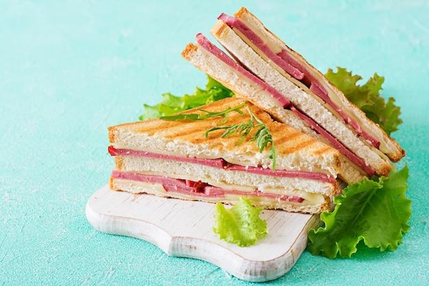 クラブサンドイッチ-ハムとチーズのパニーニ。ピクニックフード。