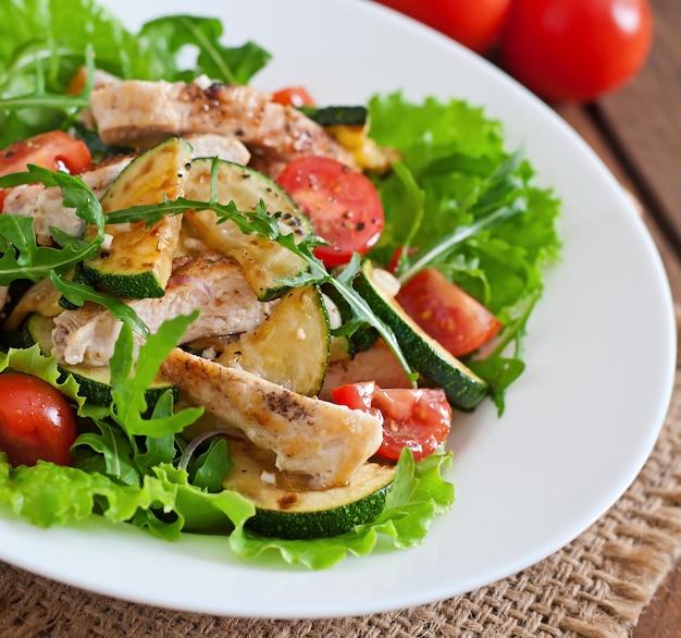 Салат из куриной грудки с цуккини и помидорами черри
