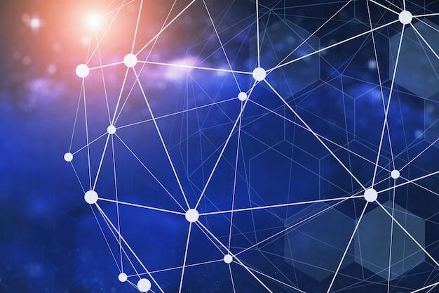将来のネットワーク接続技術の概念の背景。青い背景の線とドット技術のシンボル。