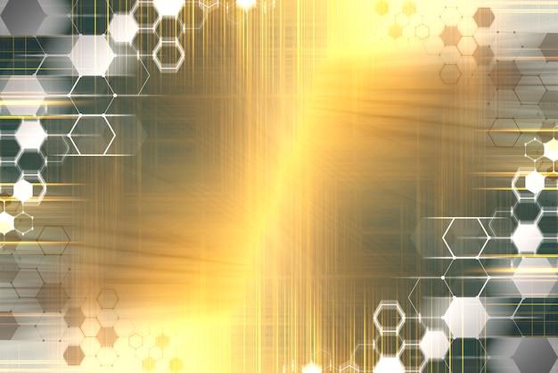 技術の背景。オレンジ色の背景に現代のコンピューターアイコン。