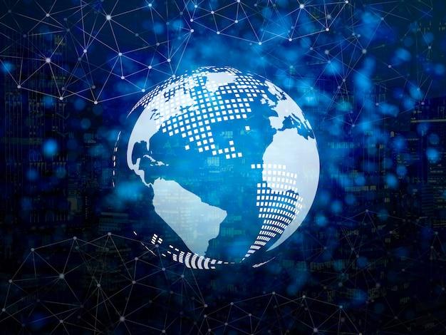 線と点の接続アイコンが付いたデジタル地球儀。無線ネットワーク接続のシンボル
