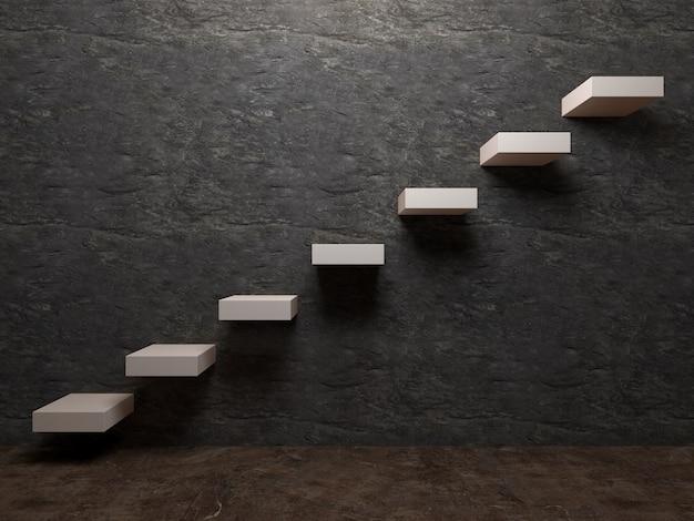 Лестничный футляр или концепция шага в фоне стены комнаты
