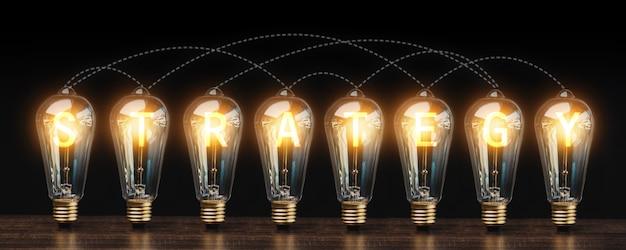 成功、戦略、ビジネスイノベーションのアイデアエネルギーとダークトーン、成功した創造的な技術と発明コンセプトの木製テーブルの電球接続ライン