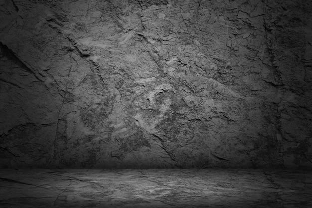 暗いと黒のスタジオと石の空の部屋の抽象的な背景