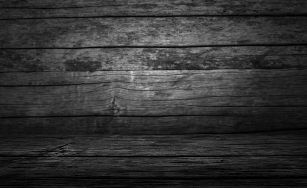 暗い背景の木と空白のテーブル