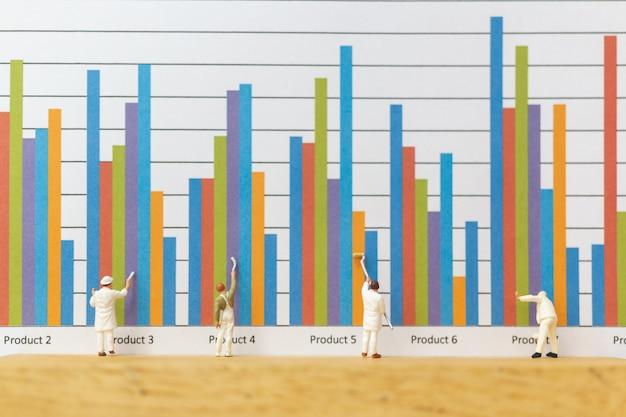 ミニチュアの人々:ビジネスグラフを描く労働者