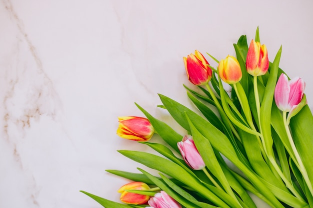 春のコンセプトです。大理石の背景にピンクと赤のチューリップ。コピースペース、平置き。