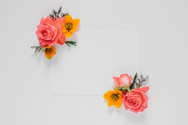 フラット横たわっている新鮮な花の明るい創造的なフレームとテキスト、自然の白いきれいな空白の葉