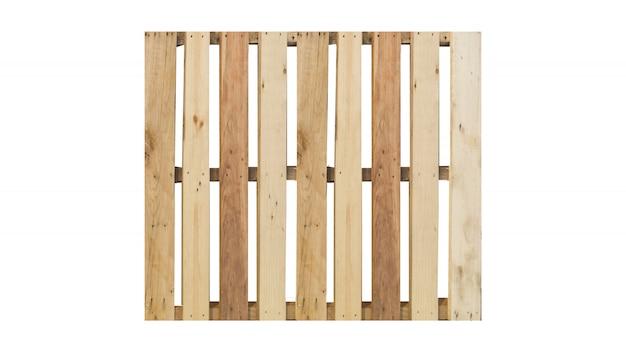 白で隔離された木製パレットの上から見る。