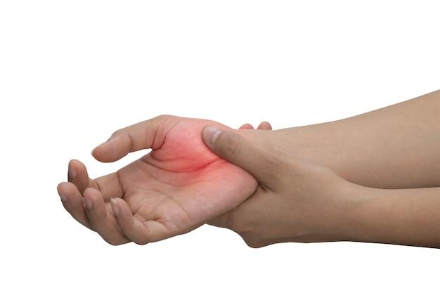Женщина, массируя ее болезненную руку, изолированных на белом фоне