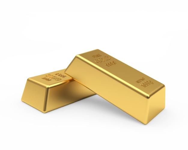 Две золотые слитки, изолированные на белом