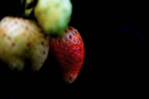黒の背景にイチゴ。
